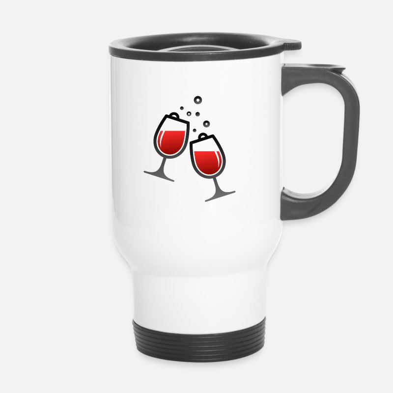 Wine Glass Mugs & Drinkware - Two wine glasses - Travel Mug white