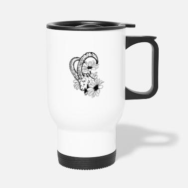 Goat And Flowers - Travel Mug