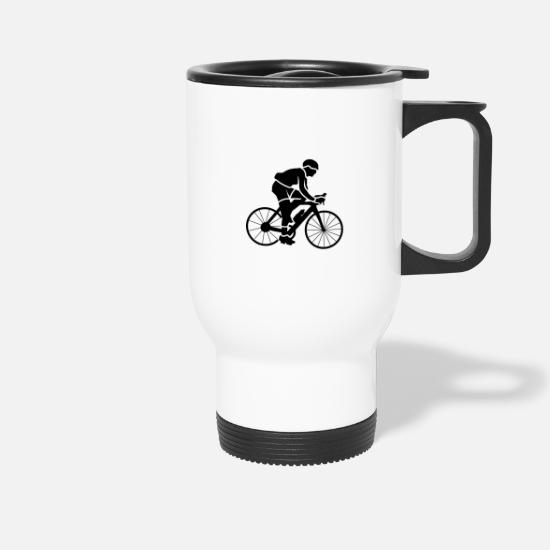 Bike Messenger Mugs & Drinkware - Cyclist cyclist cyclist riding a bicycle - Travel Mug white