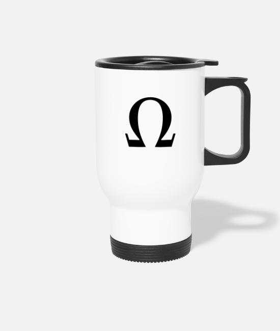 Art Mugs & Drinkware - Greek Symbol Omega - Travel Mug white