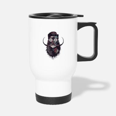 Pirate Skull hipster skull and crossbones bearded skull mustache b - Travel Mug