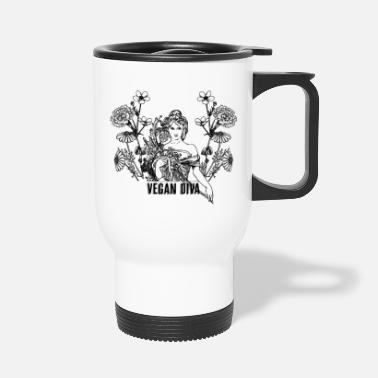 Vegan Diva - lady with flowers - Travel Mug