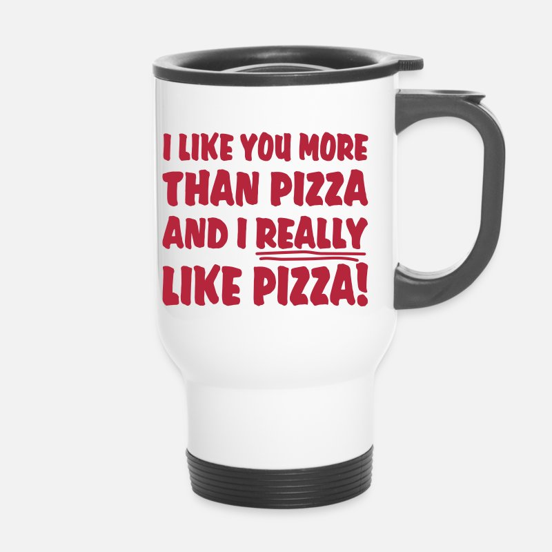 Liefde Mokken & toebehoor - I like you more than pizza and i really like pizza - Thermosbeker wit