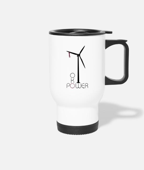 Eco Mugs & Drinkware - Ökopower with pinwheel - Travel Mug white