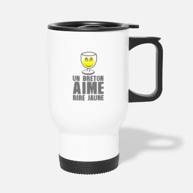 Slogan Breton love laugh yellow pastis alcohol humor - Travel Mug