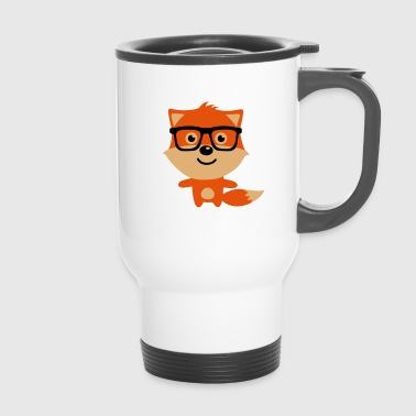 Cute & Funny Hipster Baby fox with nerd glasses - Kubek termiczny