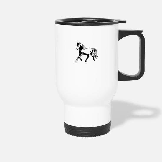 Mare Mugs & Drinkware - Proud, gathered horse in trot - Travel Mug white