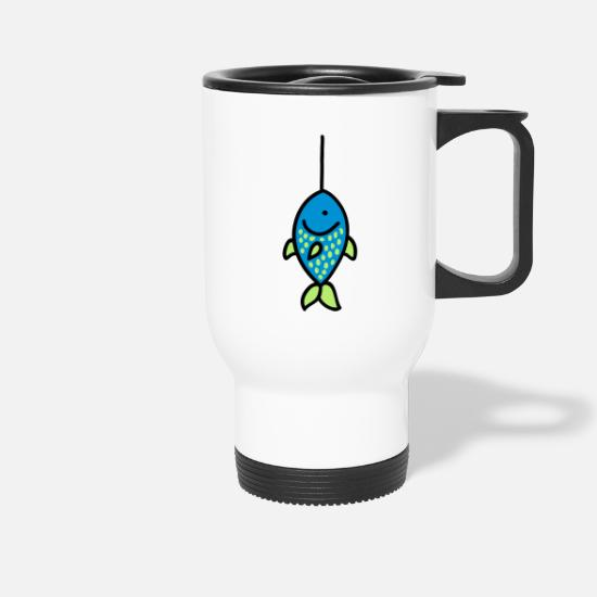 Trapped Mugs & Drinkware - Fish on chopping 3 - Travel Mug white