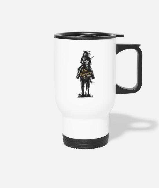 Birthday Mugs & Drinkware - American Indian Apache Rider Western Chief Gift - Travel Mug white