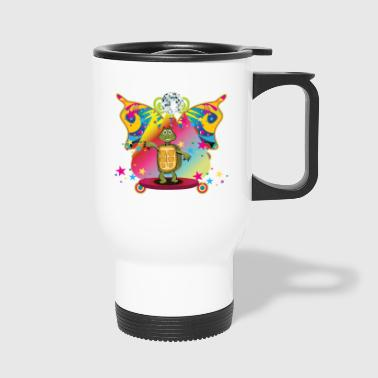 Dancing disco turtle on the dancefloor - Travel Mug