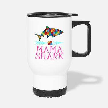 Puzzle Autism Awareness Tee Mama Shark Tshirt Design - Travel Mug