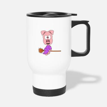 Witches Broom Funny Pig - Pig - Witch Broom - Witch - Fun - Travel Mug