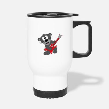 Bass Player Funny panther - guitar - music - animal - fun - Travel Mug