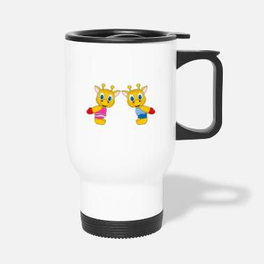 Heart Funny giraffes - heart - love - love - fun - Travel Mug
