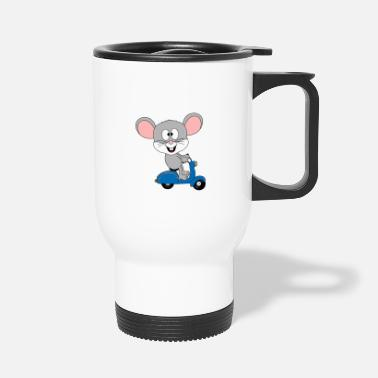 Chic Mouse divertente - scooter - patente di guida - animale - Tazza termica