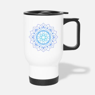 Meditation Merkaba in lotus flower geometry blue - Travel Mug