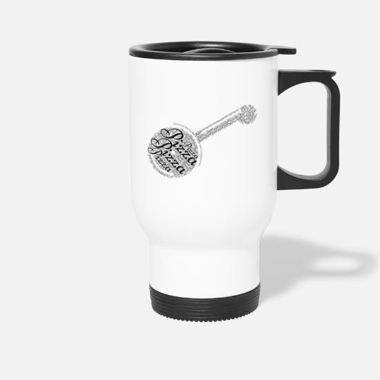Pizza Mugs & Drinkware - Pizza cutter as a word cloud - Travel Mug white