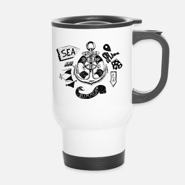 Black And White Collection Summer and Sea - Travel Mug