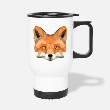 Fuchskop Fuchs Kopf Poly Füchsin fox Illustration low poly - Thermobecher