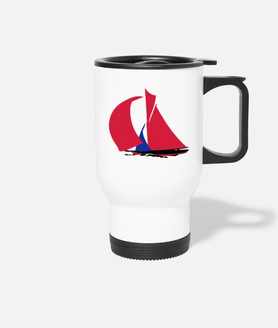 Sail Boat Mugs & Drinkware - sailboat - Travel Mug white