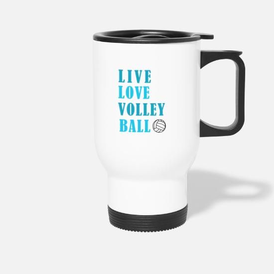 Vball Mugs & Drinkware - Volleyball Passion Teamsport Club Gift - Travel Mug white
