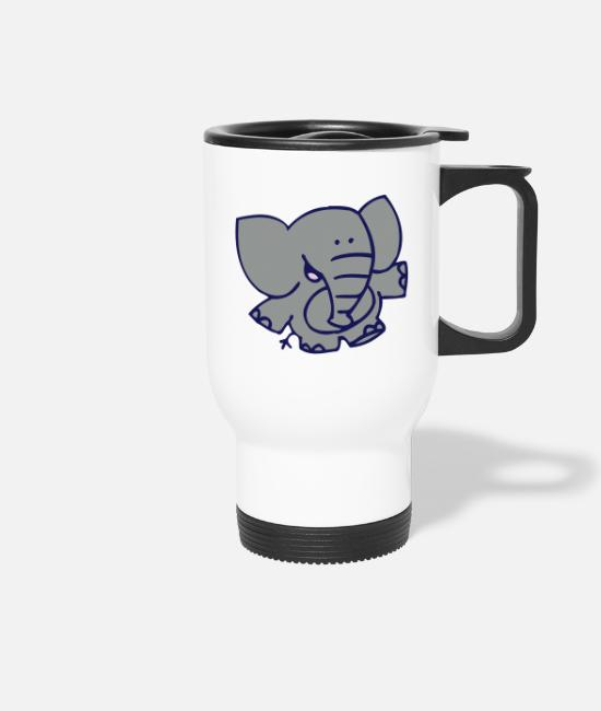 Graphics Mugs & Drinkware - Little Elephant by Cheerful Madness!! - Travel Mug white
