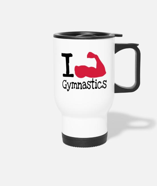 Training Mugs & Drinkware - I love Gymnastics_red - Travel Mug white