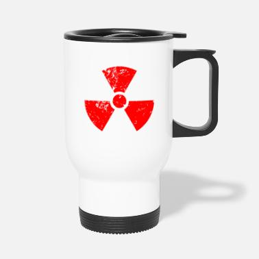 Radioactive Red red. Radioactive, radioactivity symbol - Travel Mug
