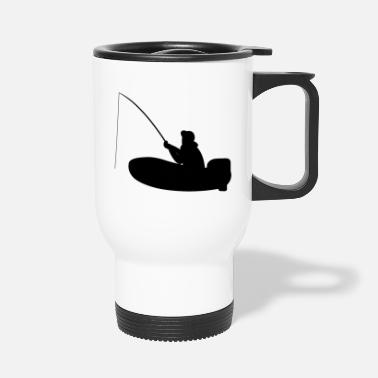 Motor Boat Fisherman on motor boat with fishing rod - Travel Mug