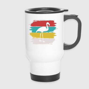 Flamingo Paint Brush Background - Travel Mug
