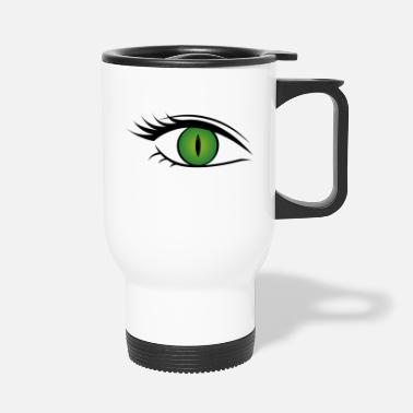Green Wild cat eye green - Travel Mug
