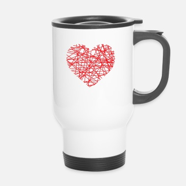 Heart Line Heart of lines | Line heart dash red love - Travel Mug