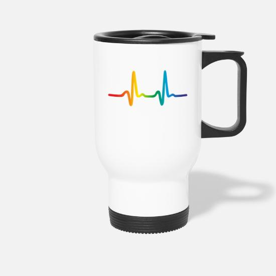 Gay Pride Tazze & Accessori - Rainbow Heartbeat, Lgbt Pride Ecg Pulse - Tazza termica bianco
