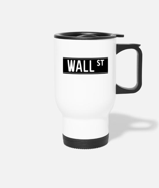 New York Mugs & Drinkware - Wall Street 1 - Travel Mug white