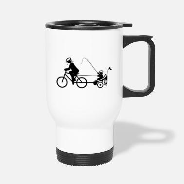 PAPA PULLS BICYCLE TRAILER WITH KIND BY SUBGIRL - Travel Mug