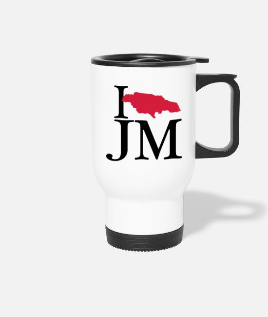 Rasta Mugs & Drinkware - I love JM - I love Jamaica - Travel Mug white