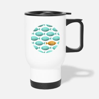 Against The Flow Individual Fish Swims Against the Flow - Travel Mug