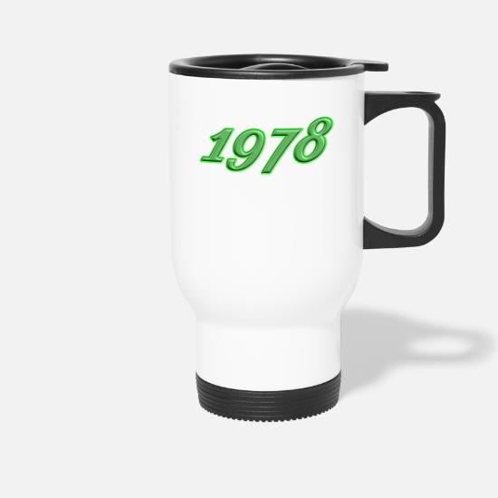 Birthday Mugs & Drinkware - 1978 round birthday 41 celebrations Born - Travel Mug white