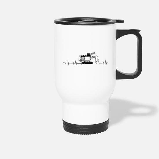 Building Site Mugs & Drinkware - Fan article for all excavator drivers - Travel Mug white