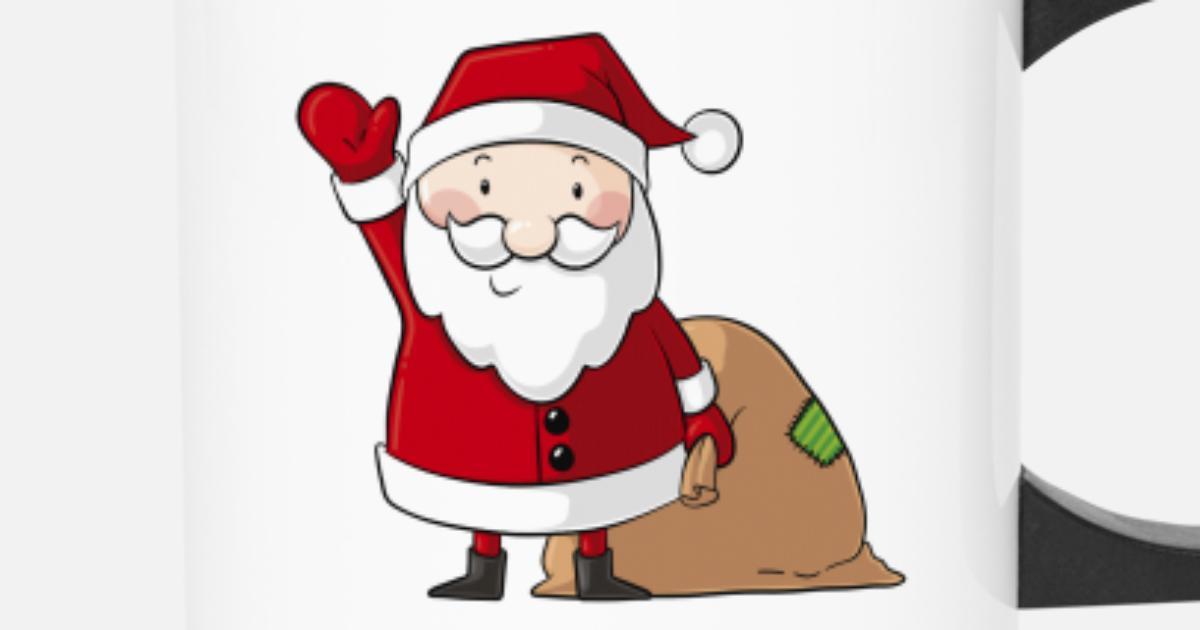 Winkender Comic Weihnachtsmann Thermobecher Spreadshirt