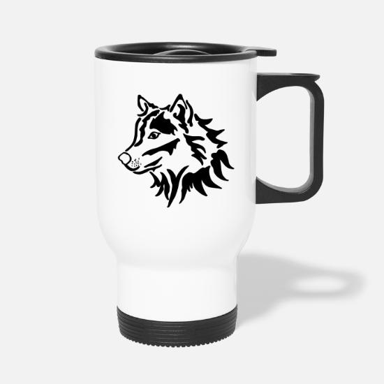 Loup Tête Mug Thermos De Blanc CoredBWx