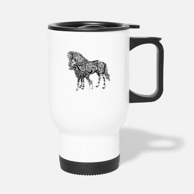 Mare Mare with a foal - Travel Mug