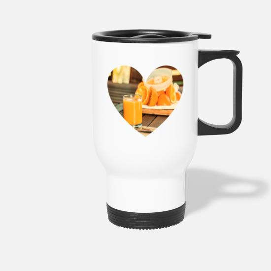 Love Mugs & Drinkware - Orange juice. - Heart - Travel Mug white