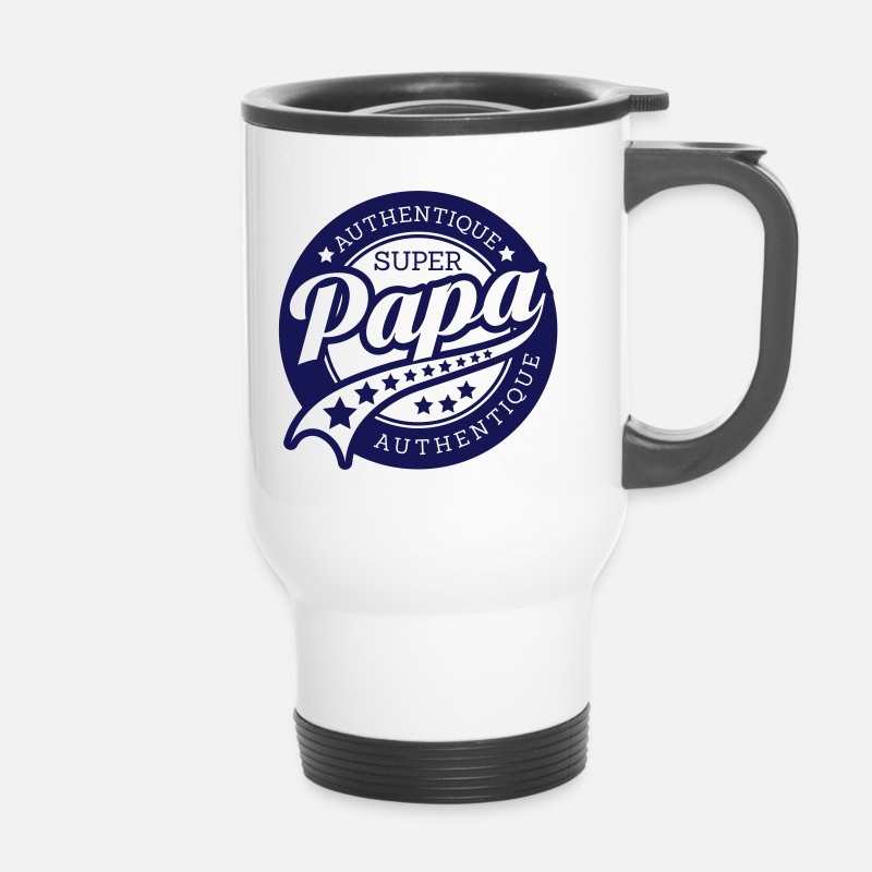Papa Mugs et gourdes - authentique super papa  - Mug isotherme blanc