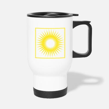 Bright Geometry stripes sun abstract square - Travel Mug