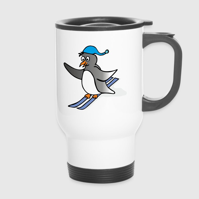 Cartoon Penguin - skiing - Kubek termiczny