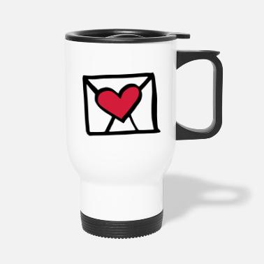 Herz Letter mit Herz / love letter + heart - lovers - Travel Mug