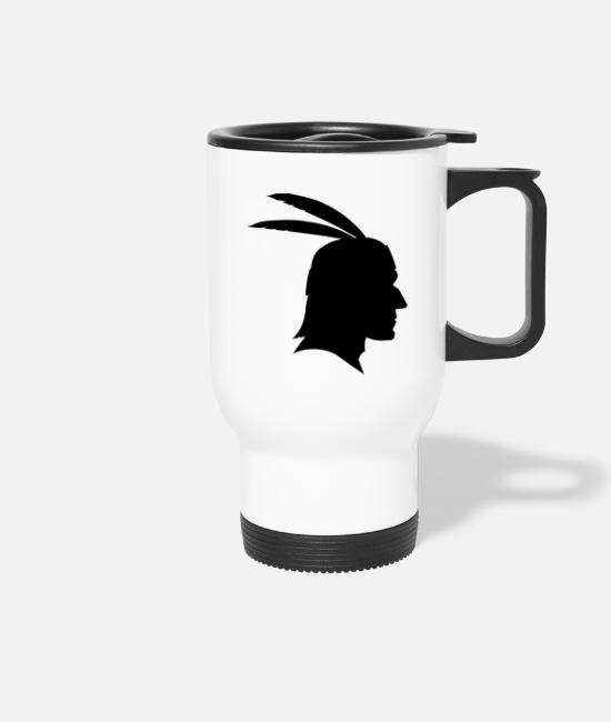 Feather Mugs & Drinkware - Indians shadow figure Apache / Sioux / Maya - Travel Mug white