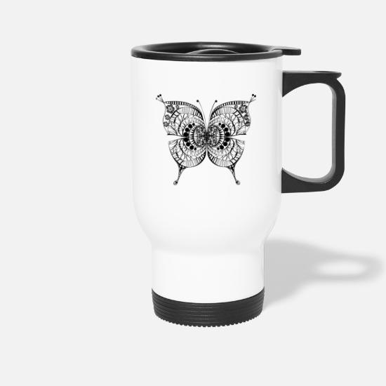 Floral Mugs & Drinkware - Floral Butterfly - Travel Mug white