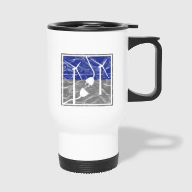 Wind energy wind turbines electricity vintage - Travel Mug
